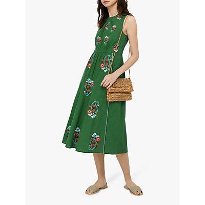 Monsoon Etti Embroidered Paisley Midi Dress, Green