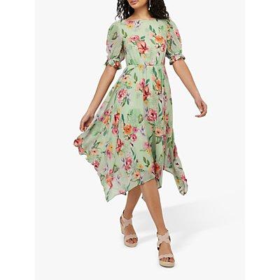 Monsoon Hermione Tea Floral Midi Dress, Green