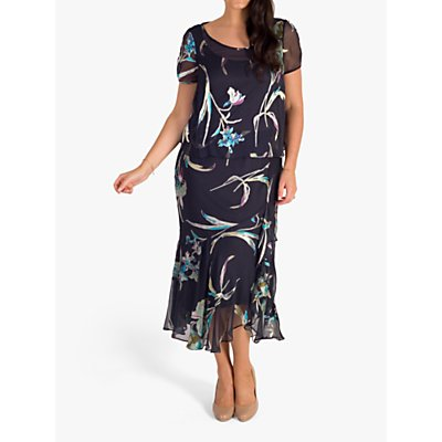 chesca Floral Print Dress, Pewter/Turquoise