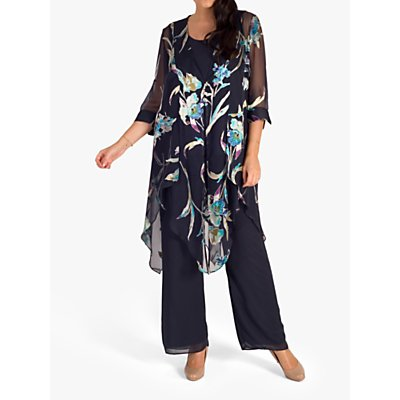 chesca Floral Print Pixie Hem Coat, Pewter/Turquoise