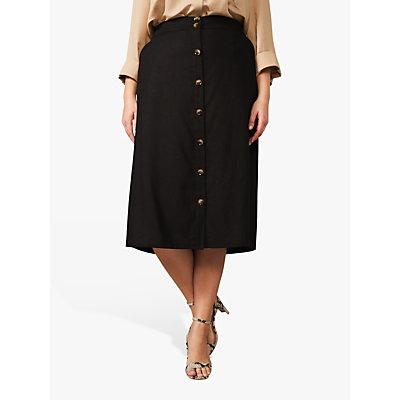 Studio 8 Kristy A-Line Button Front Midi Skirt, Black