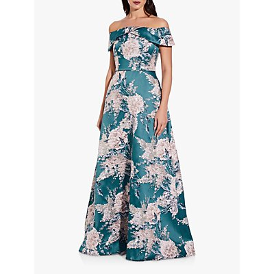 Adrianna Papell Off Shoulder Floral Print Jacquard Gown, Teal/Multi