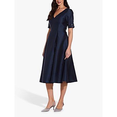 Adrianna Papell Mikado Beaded Sleeve Party Dress, Midnight