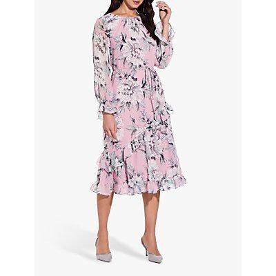 Adrianna Papell Floral Print Chiffon Ruffle Dress, Pink/Multi