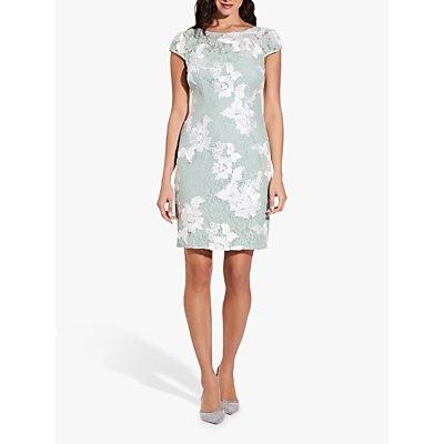 Adrianna Papell Floral Soutache Lace Sheath Dress, Seafoam/Ivory