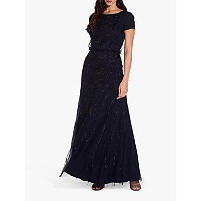 Adrianna Papell Plus Long Beaded Dress, Midnight/Black