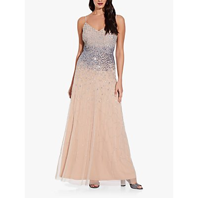 Adrianna Papell Beaded Floral Design A-Line Gown, Silver/Nude