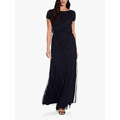 Adrianna Papell Beaded Short Sleeve Maxi Dress, Midnight Blue/Black