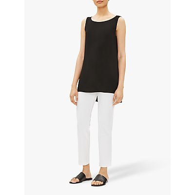 EILEEN FISHER Crepe Slim Fit Ankle Trousers, White