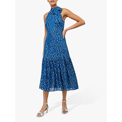 Monsoon Leilani Tiered Midi Spot Dress, Blue