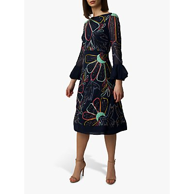 Raishma Alison Embellished Floral Midi Dress, Multi