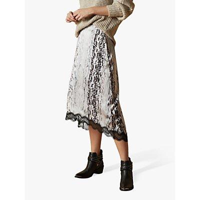 Ted Baker Cierraa Abstract Snake Print Midi Skirt, Neutral/Ivory