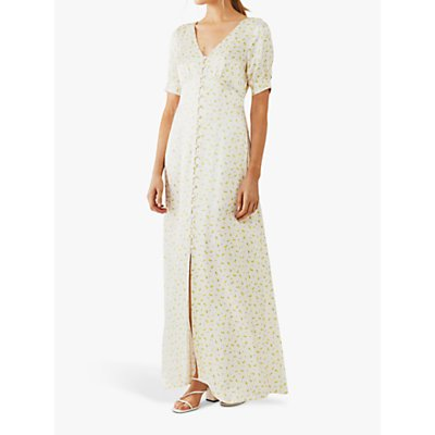 Ghost Hollie Floral Satin Maxi Dress, Natural/Yellow