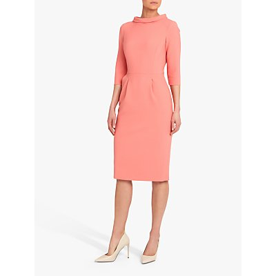 Helen McAlinden Catherine Roll Neck Midi Dress, Coral