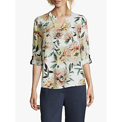 Betty & Co Floral Print V-Neck Blouse, Nature/Yellow