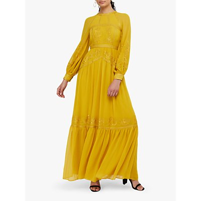 Monsoon Florence Floral Embroidered Maxi Dress, Yellow