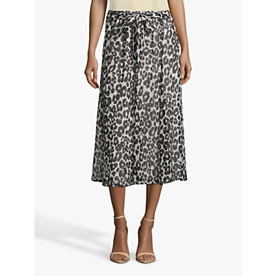 Betty & Co Animal Print Midi Skirt, Cream/Black