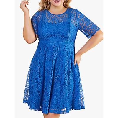 Yumi Curves Lace Trim Floral Midi Dress, Blue