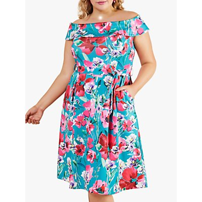 Yumi Curves Poppy Bardot Floral Midi Dress, Multi
