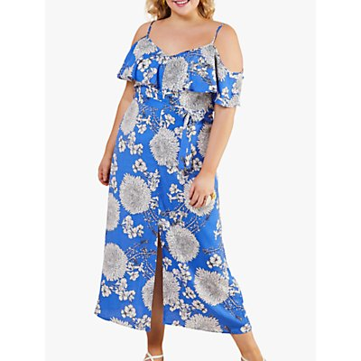 Yumi Curves Cold Floral Print Maxi Dress