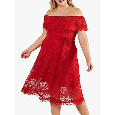 Yumi Curves Bardot Tie Belt Floral Lace Midi Dress