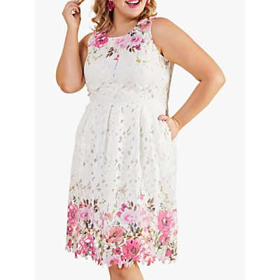 Yumi Curves Mirrored Floral Lace Dress, Ivory/Pink