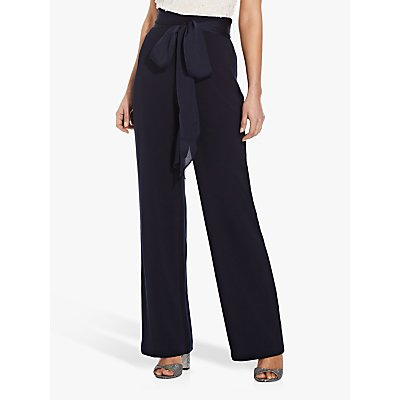 Adrianna Papell Crepe Satin Bow Wide Leg Trousers, Midnight