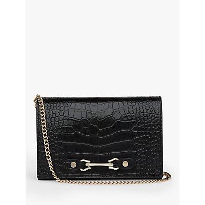 L.K.Bennett Melissa Flap Over Croc Leather Clutch Bag, Black