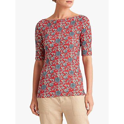 Lauren Ralph Lauren Judy Floral Print Jersey Top, Red/Multi