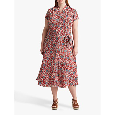 Lauren Ralph Lauren Curve Amit Floral Print Dress, Red/Multi