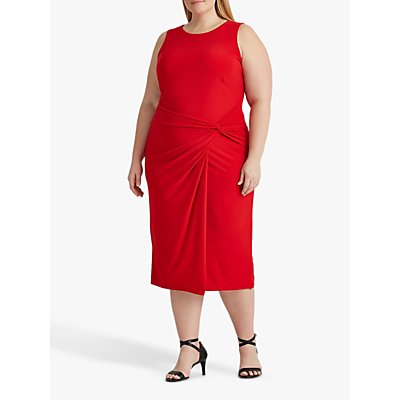 Lauren Ralph Lauren Curve Kava Sleeveless Knot Side Dress, Orient Red