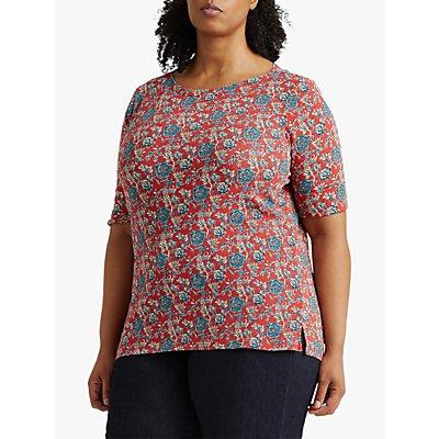 Lauren Ralph Lauren Curve Judy Floral Print Jersey Top, Red/Multi