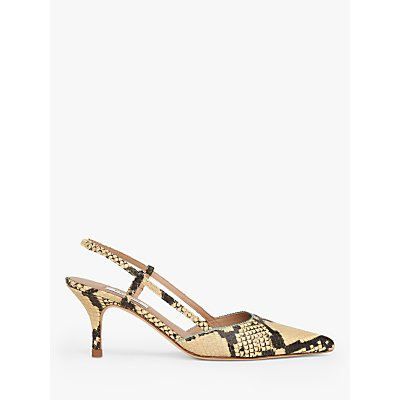 L.K.Bennett Henley Snake Print Slingback Court Shoes, Yellow