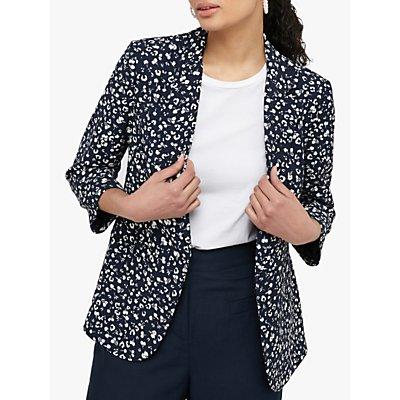 Monsoon Poppy Print Jacket, Navy/White