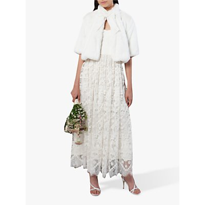 French Connection Arne Faux Fur Bridal Cover Jacket, Summer White
