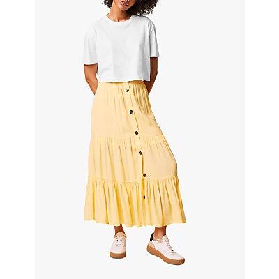 French Connection Easha Button Maxi Skirt, Sunwash Yellow