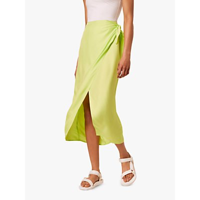 French Connection Gabina Wrap Midi Skirt, Lime Punch