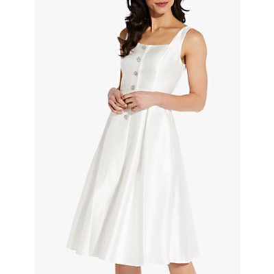 Adrianna Papell Mikado Tea Length Button Front Dress