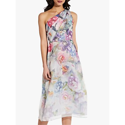Adrianna Papell One Shoulder Organza Floral Midi Dress, Ivory/Multi