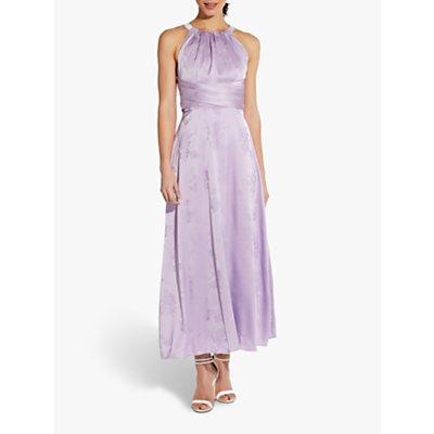 Adrianna Papell Satin Floral Print Jacquard Halterneck Midi Dress, Plush Lilac