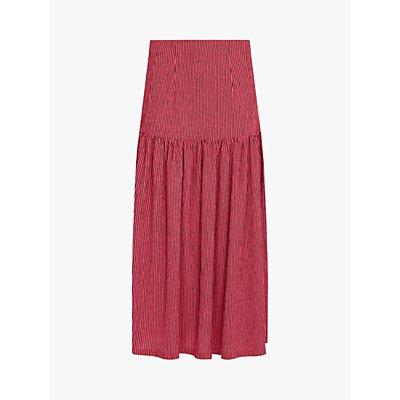 Finery Brenda Gingham Jersey Midi Skirt, Pink/Black