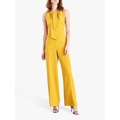 Damsel in a Dress Tyna Bow Neck Textured Jumpsuit, Yellow