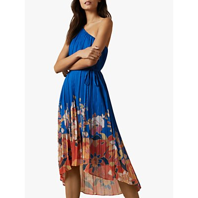 Ted Baker Dahlari Cabana Pleated One Shoulder Midi Dress, Bright Blue