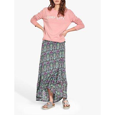 hush Jersey Midi Skirt, Ebony Ikat