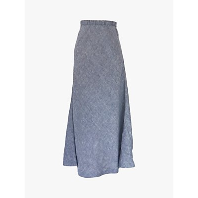 NRBY Tabby Linen A-Line Skirt, Navy/Grey Chambray