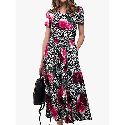 Jolie Moi Tie Neck Print Maxi Dress, Leo Floral