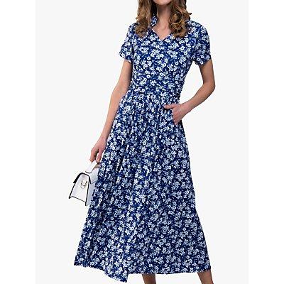 Jolie Moi Tie Neck Print Maxi Dress, Blue Floral