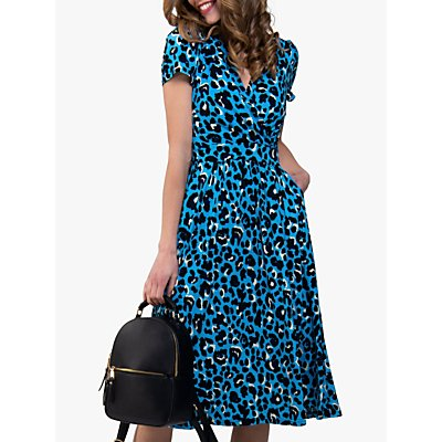 Jolie Moi Leopard Print Fit and Flare Dress, Turquoise/Multi