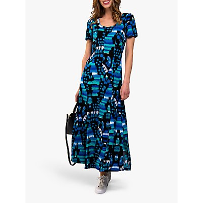 Jolie Moi Abstract Print A-Line Maxi Dress, Navy/Turquoise