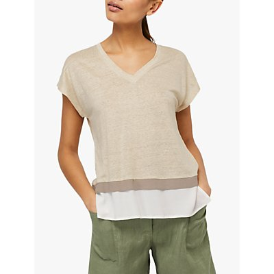 Monsoon Wallace V-Neck Linen Top, Stone